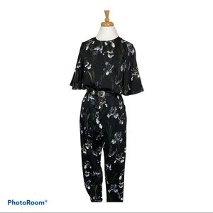 H&M Floral Short Bell Sleeve Crop Jumpsuit